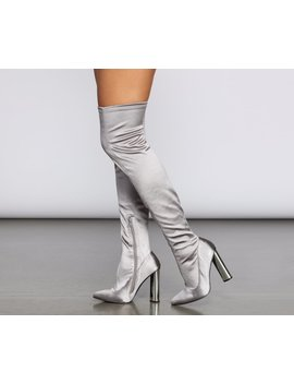 Satin Over The Knee Boots by Windsor