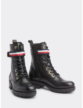 Signature Lace Up Biker Boots by Tommy Hilfiger