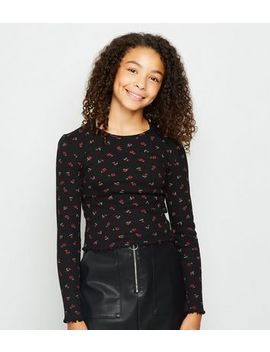 Girls Black Rose Print Ribbed Long Sleeve Top by New Look