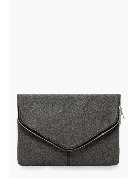 Shimmer Oversized Fold Over Clutch Bag by Boohoo