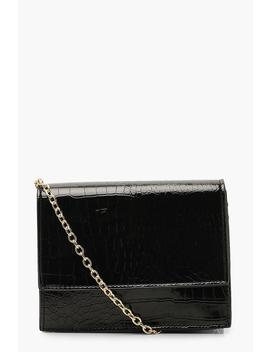 Croc Structured Cross Body Bag & Chain by Boohoo