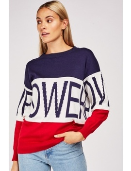 Colour Block Logo Knit Jumper by Everything5 Pounds