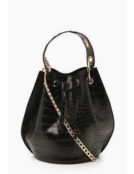 Croc Ring Handle Cross Body Bucket Bag by Boohoo
