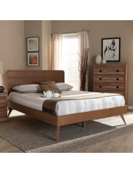 Carson Carrington Ulvsta Walnut Wood Mid Century Platform Bed   King by Carson Carrington