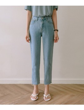 Essay Frayed Hem Cropped Denim Pants by Mixxmix