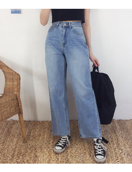 Neverm!Nd Whisker Wash Wide Leg Denim Pant by Mixxmix