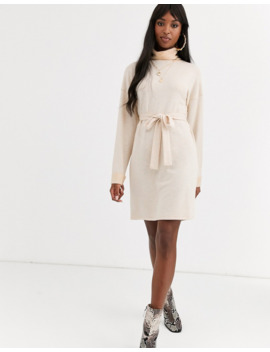 Asos Design Tall Cowl Neck Belted Midi Dress In Marl by Asos Design