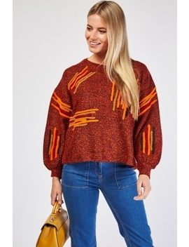 Multi Striped Borg Trim Jumper by Everything5 Pounds