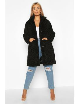 Plus Faux Fur Teddy Pocket Coat by Boohoo