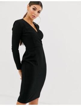 Asos Design Long Sleeve Plunge Wrap Midi Dress by Asos Design