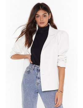 Pu Double Breasted Puff Sleeve Blazer by Nasty Gal