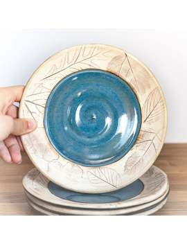Tapas Plate   Dessert Plate   Blue Ceramic Plate Woodland Or Beachcomber   Luncheon Plate by Etsy