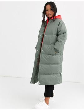 Asos Design Petite Longline Puffer Coat With Contrast Hood In Sage by Asos Design