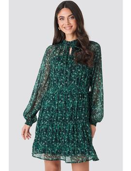 Frill V Neck Chiffon Mini Dress Green by Na Kd Boho