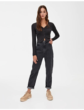 Top Negro Botones by Pull & Bear