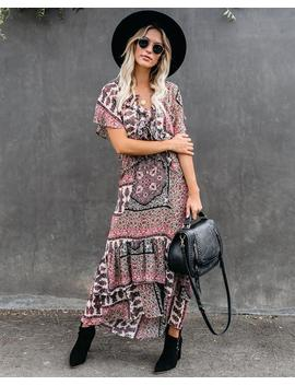 Piece By Piece Printed Ruffle Maxi Dress by Vici