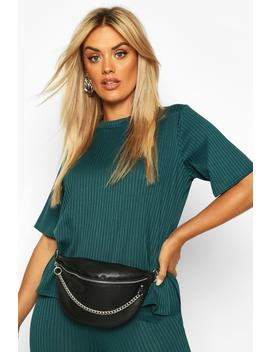 Plus Oversized Side Split Jumbo Rib Tee by Boohoo