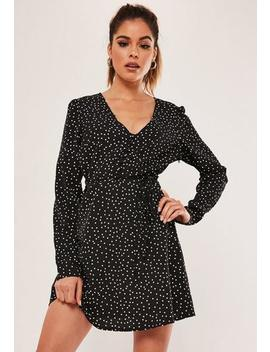 Black Polka Dot Button Front A Line Mini Dress by Missguided