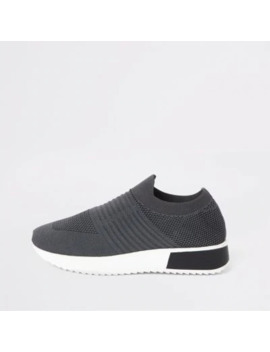 Dark Grey Knitted Runner Trainers by River Island