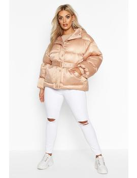 Plus Satin Look Belted Funnel Neck Puffer Jacket by Boohoo