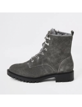 Grey Suede Quilted Lace Up Chunky Boots by River Island