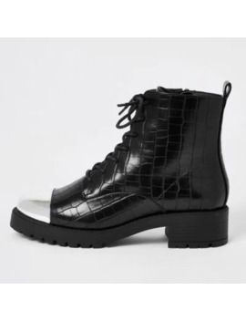 Black Leather Croc Embossed Lace Up Boots by River Island