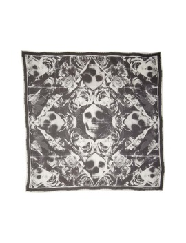 Ripped Roses & Skull Square Silk Chiffon Scarf by Alexander Mcqueen