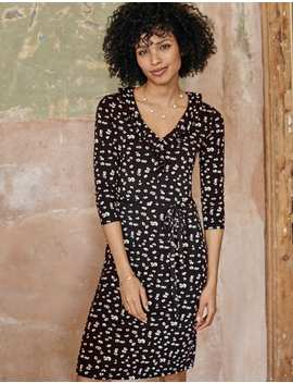 Logan Jersey Dress   Black, Painted Daisy by Boden