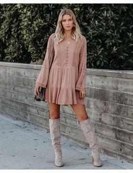 Rana Button Down Crochet Babydoll Dress   Blush by Vici