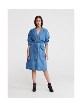 Jeansowy Płaszcz Z Paskiem by Reserved