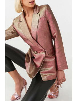 Double Breasted Metallic Blazer by Forever 21
