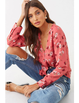 Floral Button Front Top by Forever 21