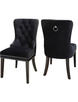 Nikki Velvet Dining Chairs, Set Of 2, Black by Meridian Furniture