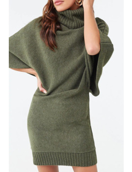 Turtleneck Batwing Sweater Dress by Forever 21