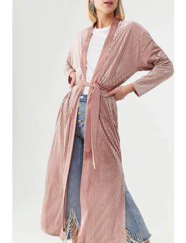 Ribbed Velvet Wrap Coat by Forever 21