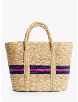 John Lewis & Partners Ava Stripe Raffia Shopper Bag, Navy/Pink by John Lewis & Partners