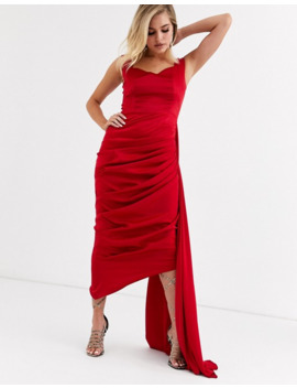 Yaura Sweetheart Plunge Midi Dress With Extreme Drape Detail In Red by Yaura