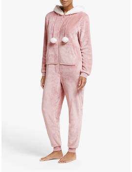 John Lewis & Partners Furry Hood Fleece Onesie, Dusky Pink by John Lewis & Partners