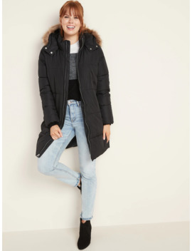 Hooded Frost Free Long Line Puffer Jacket For Women by Old Navy