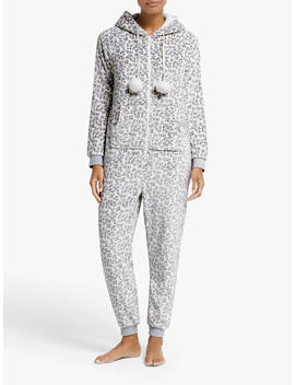 John Lewis & Partners Snow Leopard Fleece Onesie, Grey by John Lewis & Partners