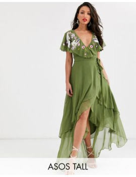 Asos Design Tall Cape Back Dipped Hem Maxi Dress In Embroidery by Asos Design