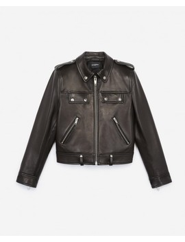 Black Biker Jacket With Zip Pockets by The Kooples
