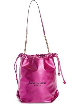 Teddy Metallic Leather Bucket Bag by Saint Laurent