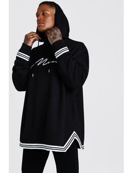 Man Signature Oversized Drop Shoulder Hoodie by Boohoo