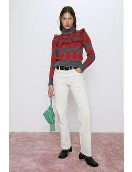 Argyle Sweater With Ruffles by Zara