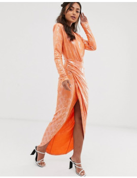 John Zack Wrap Front Snake Maxi Dress In Orange by John Zack
