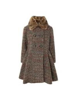 Girls Hattie Tweed Coat With Detachable Faux Fur Collar by Monsoon