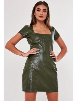 Jordan Lipscombe X Missguided Khaki Faux Leather Milkmaid Hook And Eye Dress by Missguided