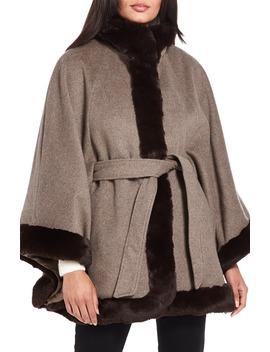 Wool Blend Cape Coat With Faux Fur Trim by Ellen Tracy
