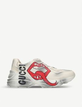 Rhython Mouth Print Leather Trainers by Gucci